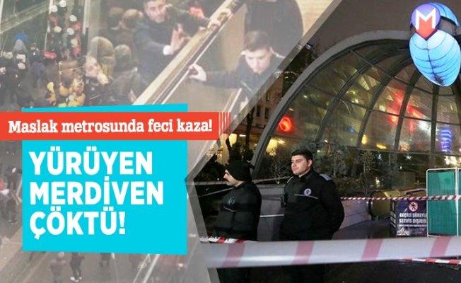 Maslak Ayazağa Metro İstasyonu'nda yürüyen merdiven kazası