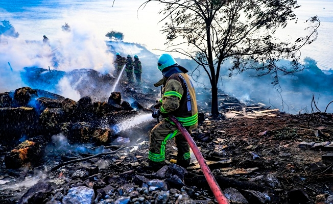 Beylikdüzü'nde geniş arazide yangın çıktı