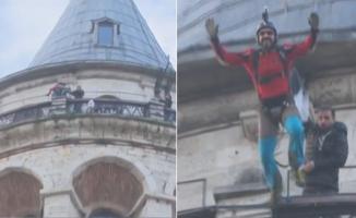 Cengiz Koçak Hezarfen'den 385 yıl sonra Galata Kulesi'nden atladı