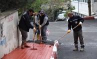 Başkomutan Caddesi'ndeki kaldırım çalışmaları