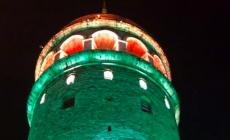 Galata Kulesi yeşil renge büründü